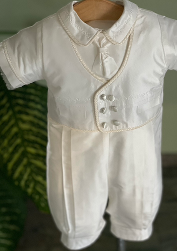Silk Boys Baptism With Cording Accents