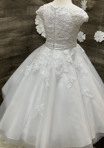 Extended Shoulder Lace Applique Gown