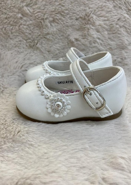 Girl's Leather Shoes with Rhinestone and Flower