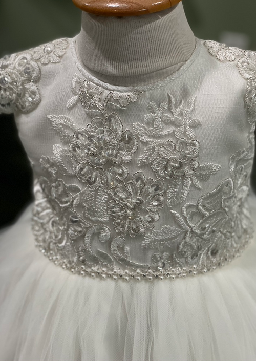 Metallic Lace Bodice Christening Gown