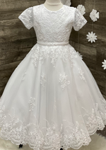 Corded Lace Short Sleeve Communion Dress