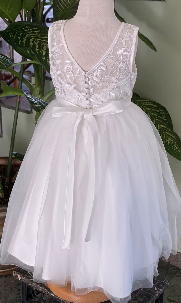 Lace and Tulle Dress with Pearl Trim Accents