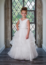 One Left!!  Pleated Satin Communion Gown With Tulle Cascade Skirt