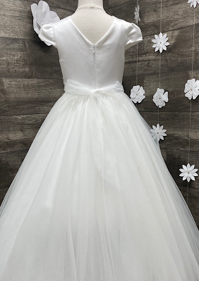 Sara's Exclusive! Satin and Tulle Communion Gown with Pleated Cap Sleeve