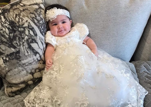 Metallic Corded Lace Christening Gown With Flowers and Headband