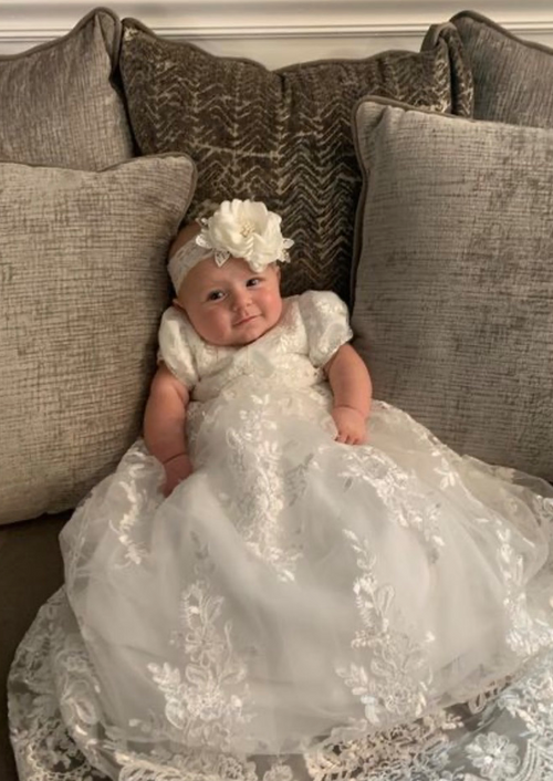 Metallic Corded Lace Christening Gown