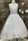 Tulle High Low Communion Gown with Lace Applique