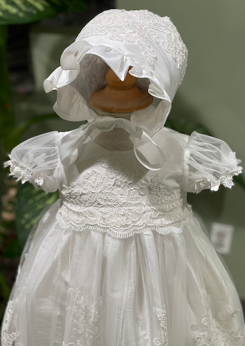 Delicate Christening Gown With Scallop Lace