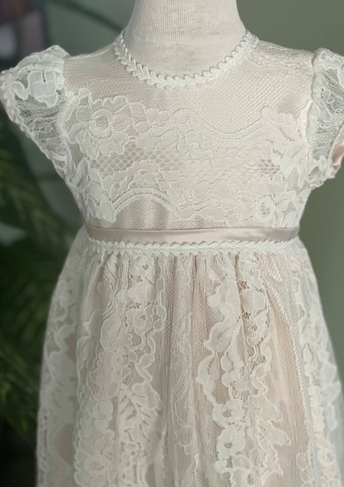 Crochet Lace Christening Gown with Blush Lining