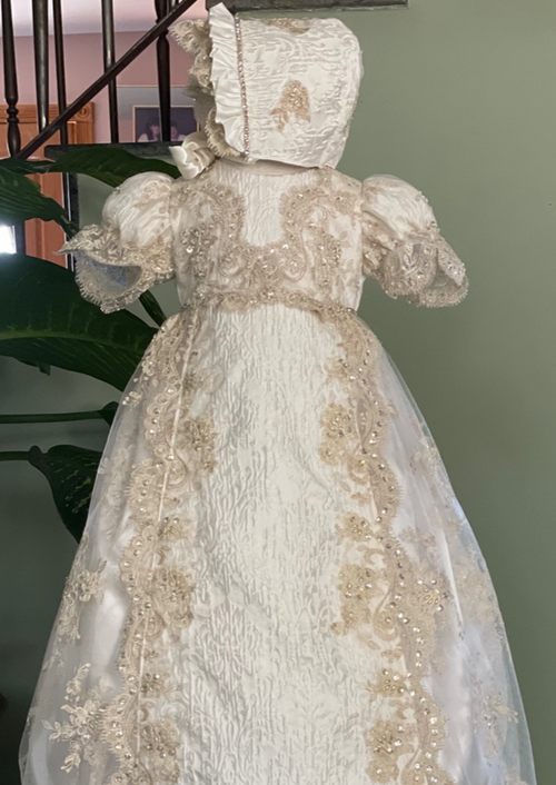Silk Jacquard Royal Baptism Dress