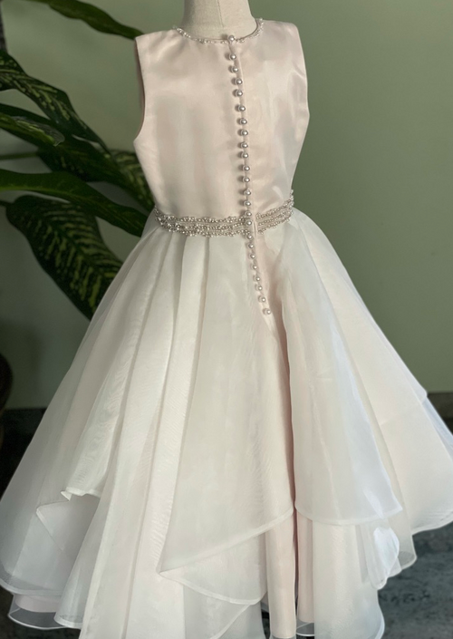 Organza Dress with Tiered Skirt