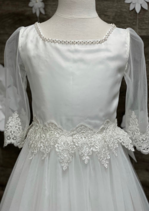 Sara's Exclusive! Made in Italy!  Scallop Lace 3/4 Sleeve Communion Dress