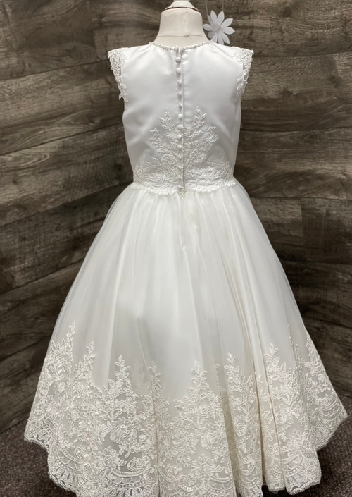 Sara's Exclusive! Scallop Lace and Satin Communion Gown