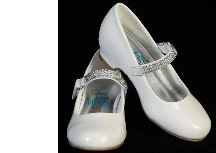 Patent Leather MaryJane With Rhinestone Strap Girls Shoe