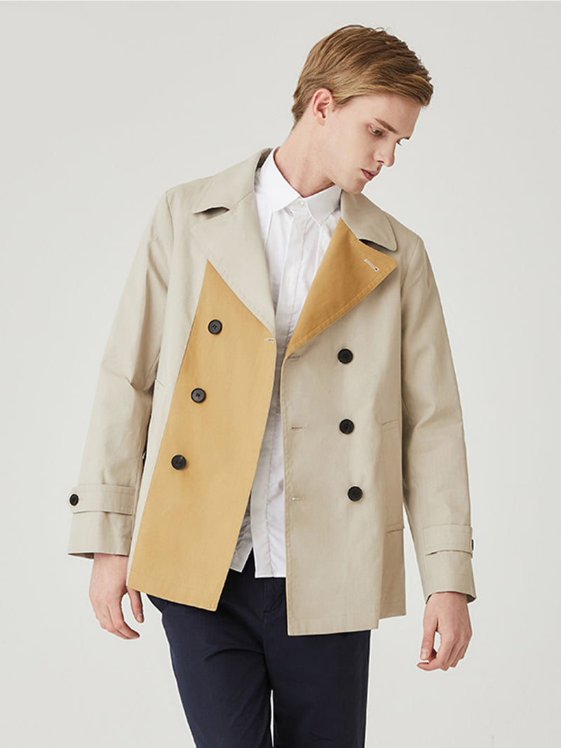 Coleshill Contrast Fabric Peacoat