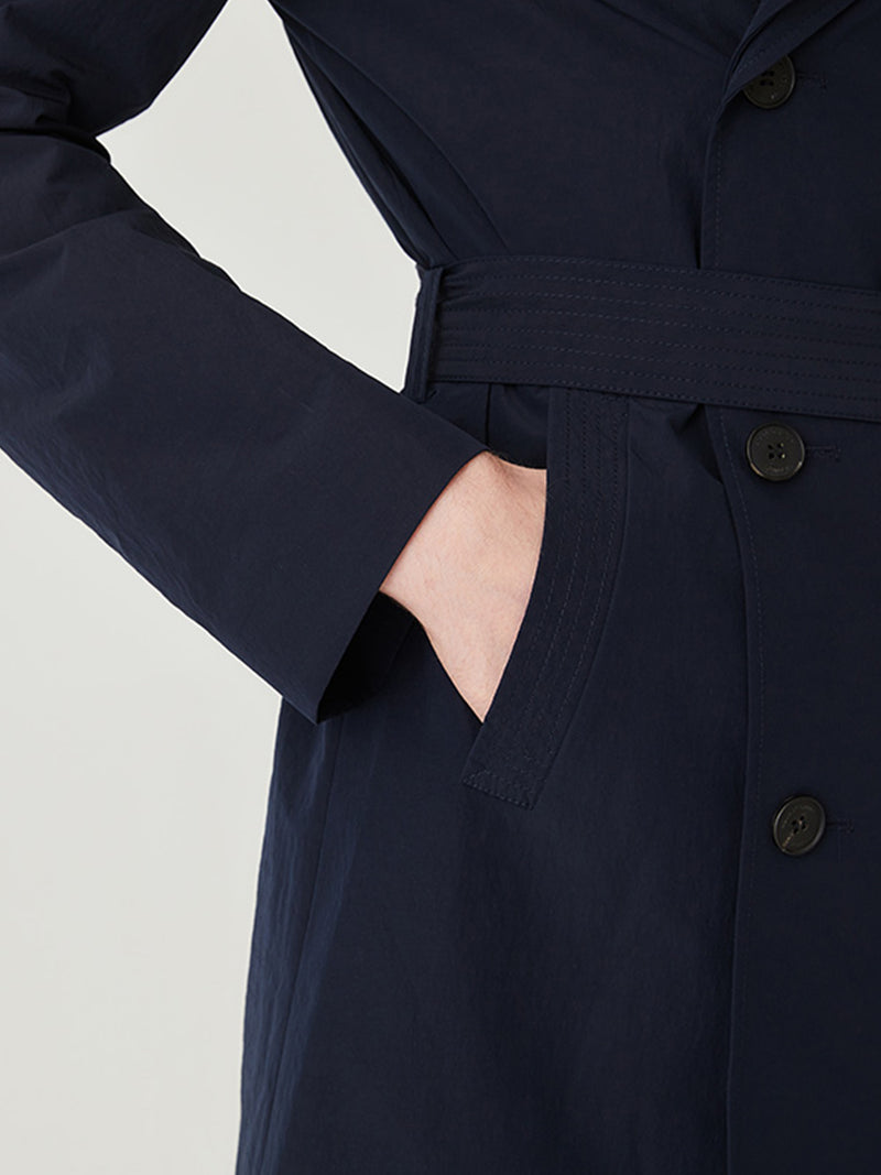 Timbs Double Breasted Trench In Navy