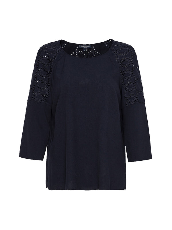 Kiko Embroidered Top In Navy