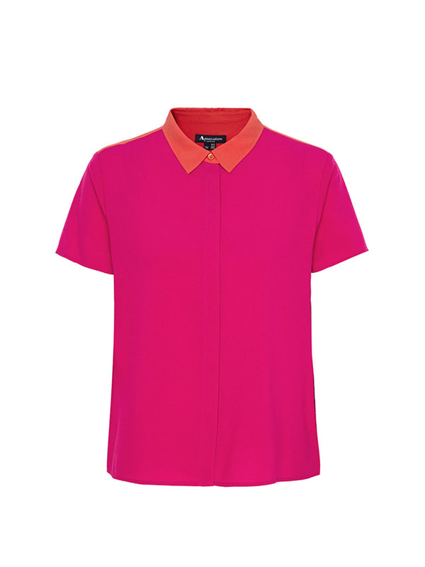 Orla Pleated Blouse In Fuschia