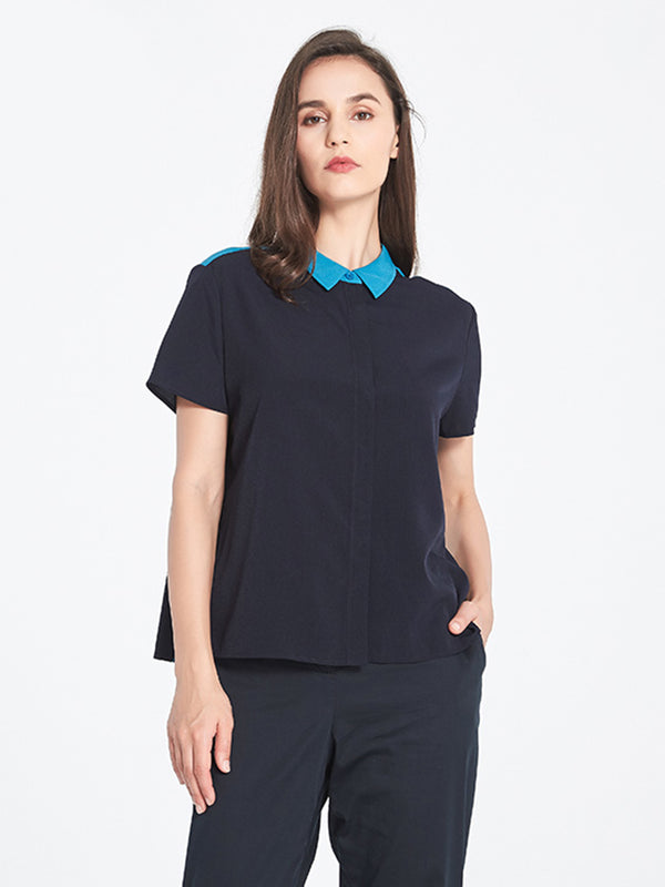 Orla Pleated Blouse In Navy