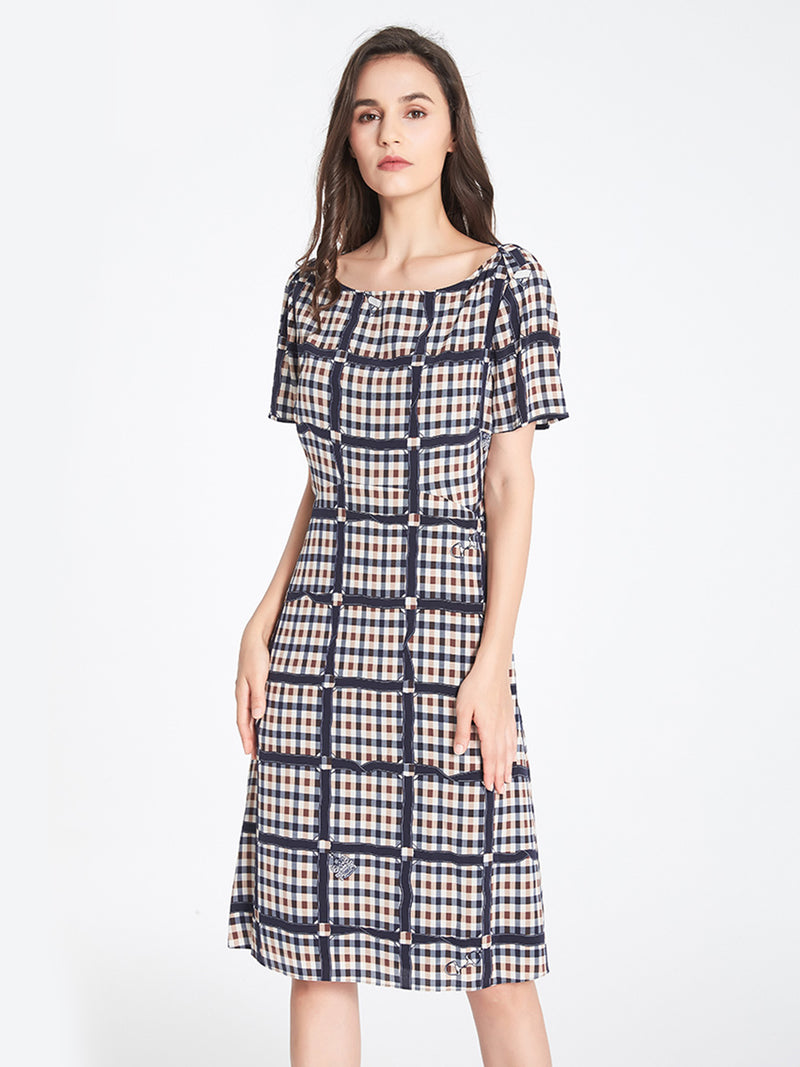 Raphaella Boat Neck Dress In Navy