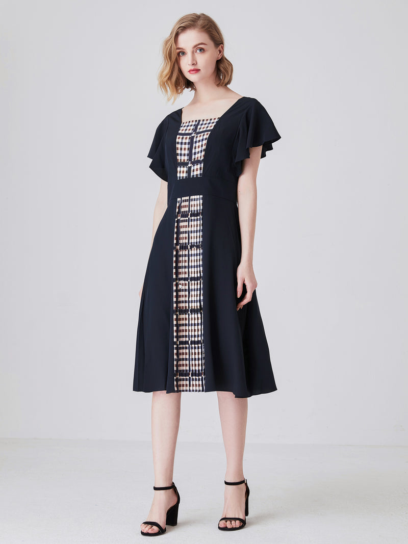 Simona Panelled Dress In Navy