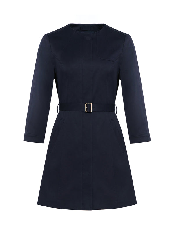 Ambre Single Breasted Trench In Navy