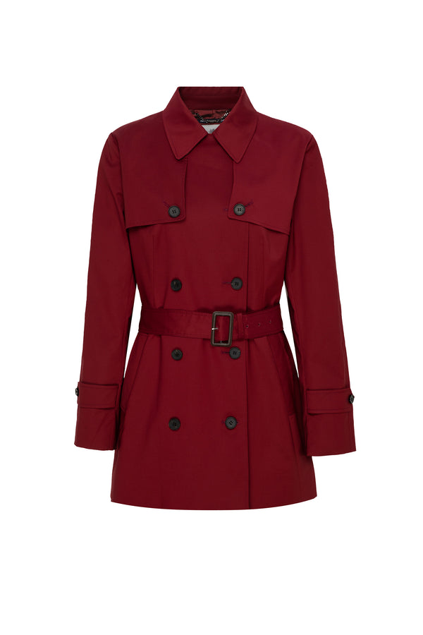 Syo Double Breasted Trench In Ruby