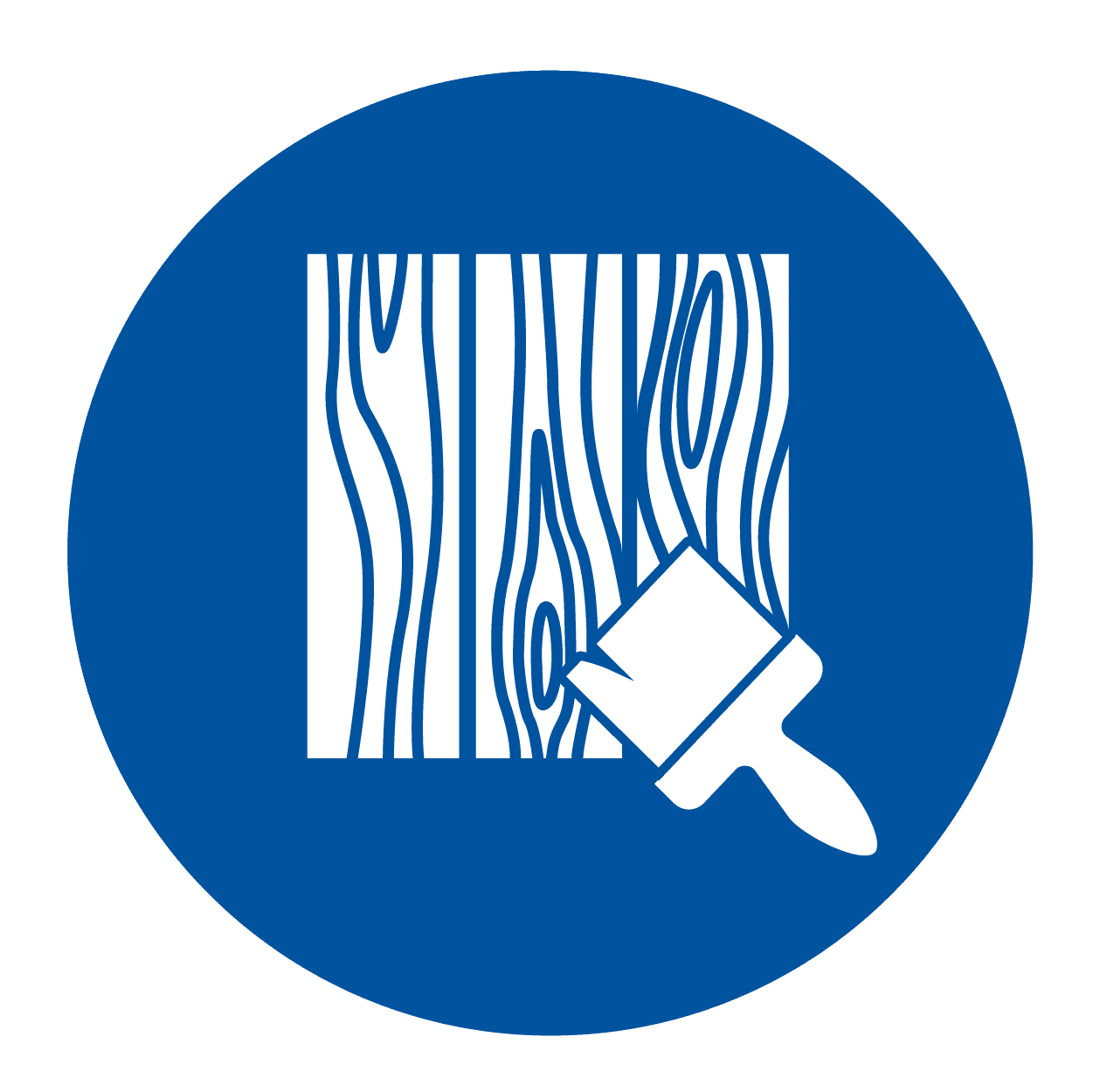 icon of wood and an exterior wood staining brush.