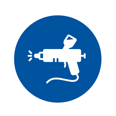 Paint Spray Gun icon. Contractors can shop all their spray equipment needs at Kelly-Moore Paints.