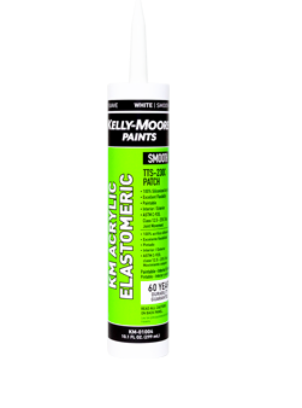 10.1oz White Smooth Acrylic Elastomeric Caulk, available at Kelly-Moore Paints for Contractors.