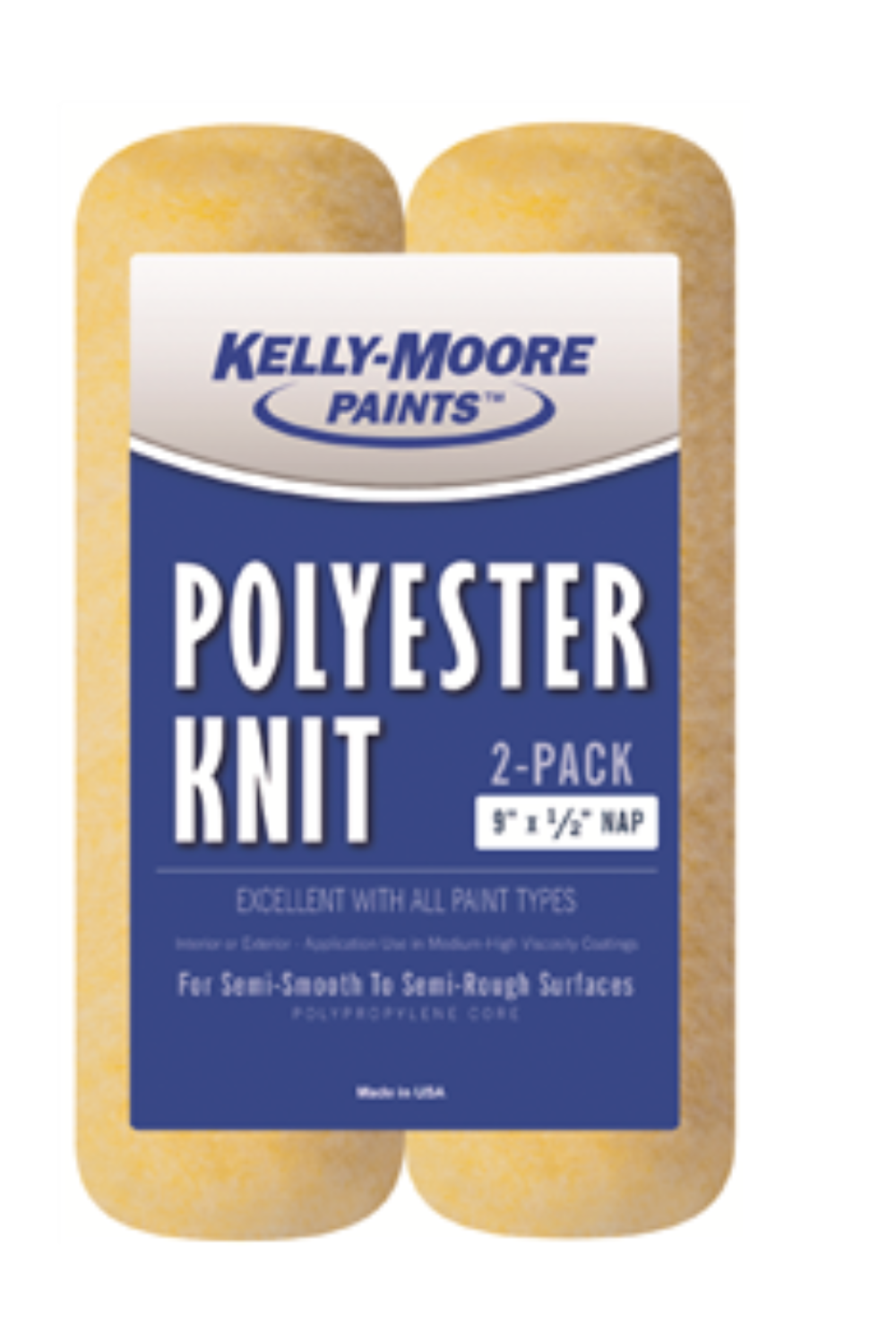"9"" x 1/2"" Nap Polyester Blend Knit Roller Cover 2 Pack, available at Kelly-Moore Paints for Contractors."