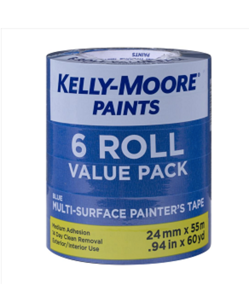 "1"" Multisurface Blue Tape 6 Pack, available at Kelly-Moore Paints for Contractors."