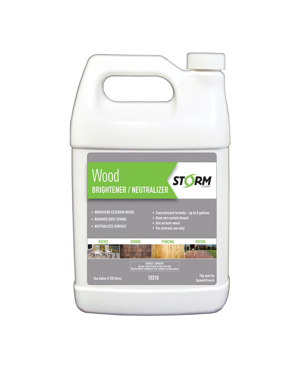 STORM WOOD BRIGHTENER / NEUTRLIZER, available at Kelly-Moore Paints for Contractors.