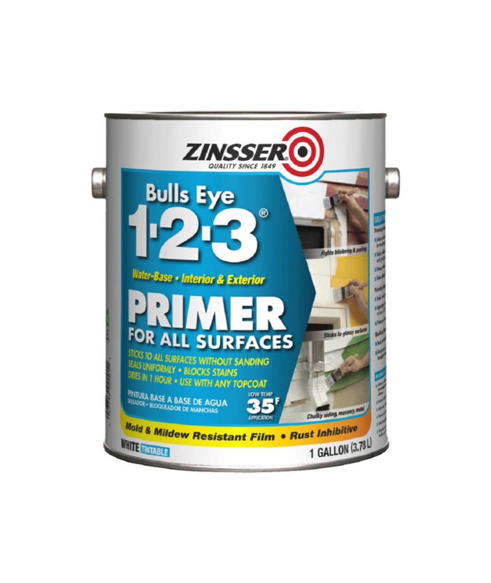 Zinsser Bullseye 123 primer gallon, available at Kelly-Moore Paints for Contractors.