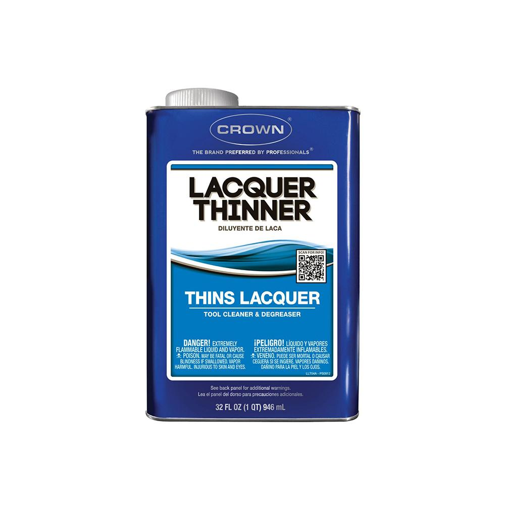 Crown  Lacquer Thinner, available at Kelly-Moore Paints for Contractors.