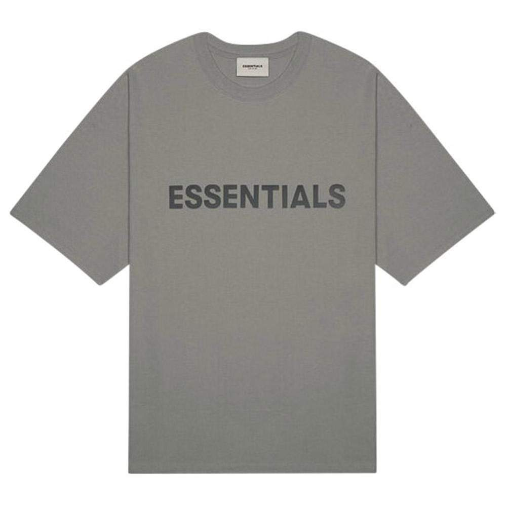 FEAR OF GOD ESSENTIALS 3D SILICON APPLIQUE BOXY T-SHIRT GRAY FLANNEL/CHARCOAL