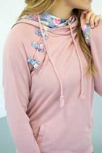 Blush Floral Accented Hoodie