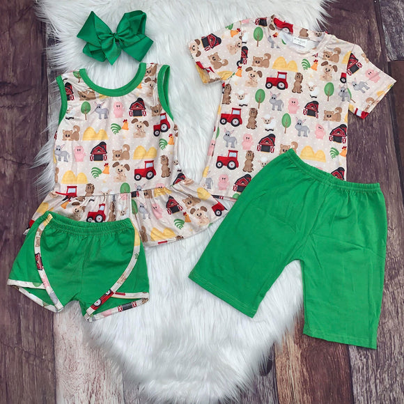 Farm Printed Girl's Peplum Set with Green Shorts