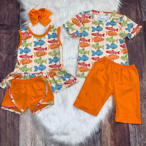 Colorful Fish Printed Girl's Peplum Set with Orange Shorts