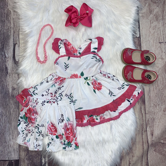 Pink Floral and Lace Ruffle Dress Set with Bloomers