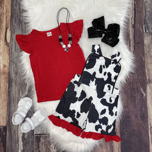 Animal Printed Short Romper & Flutter Sleeve Tee - Cow