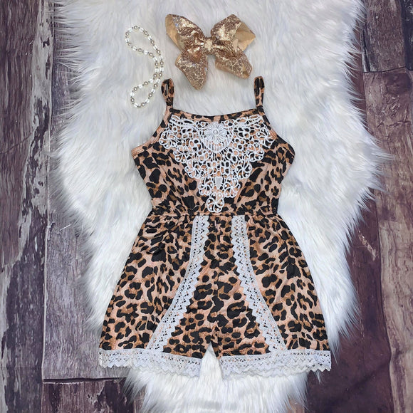 Leopard And Lace Short Romper