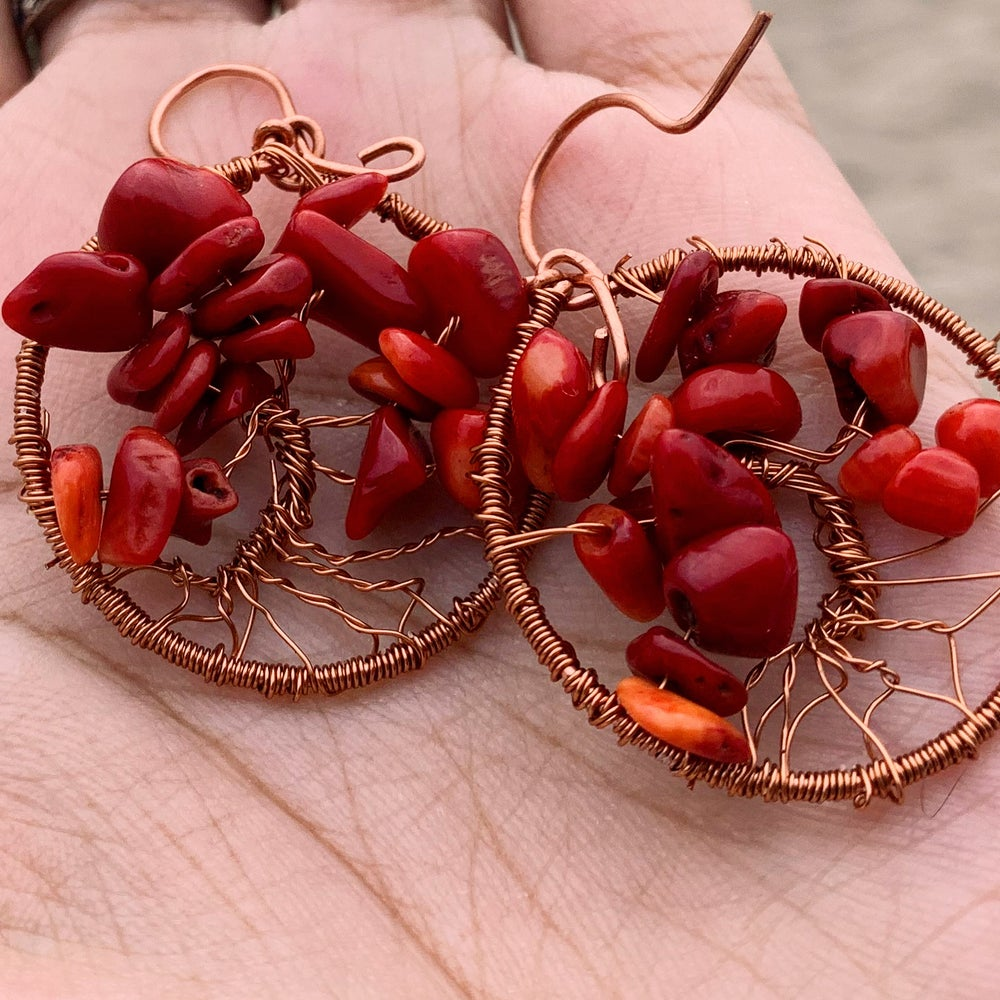 Red Jasper Tree of Life Earrings