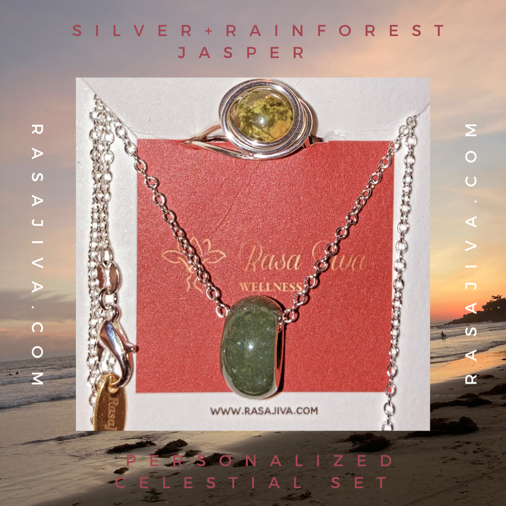 Silver + Rainforest Jasper Personalized Celestial Set