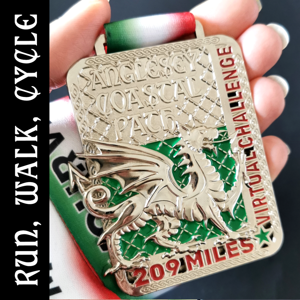 Anglesey Coastal Path virtual challenge Silver medal with welsh dragon