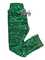 Green faux glitter leggings RTS