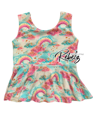 Sleeveless rainbow peplum RTS