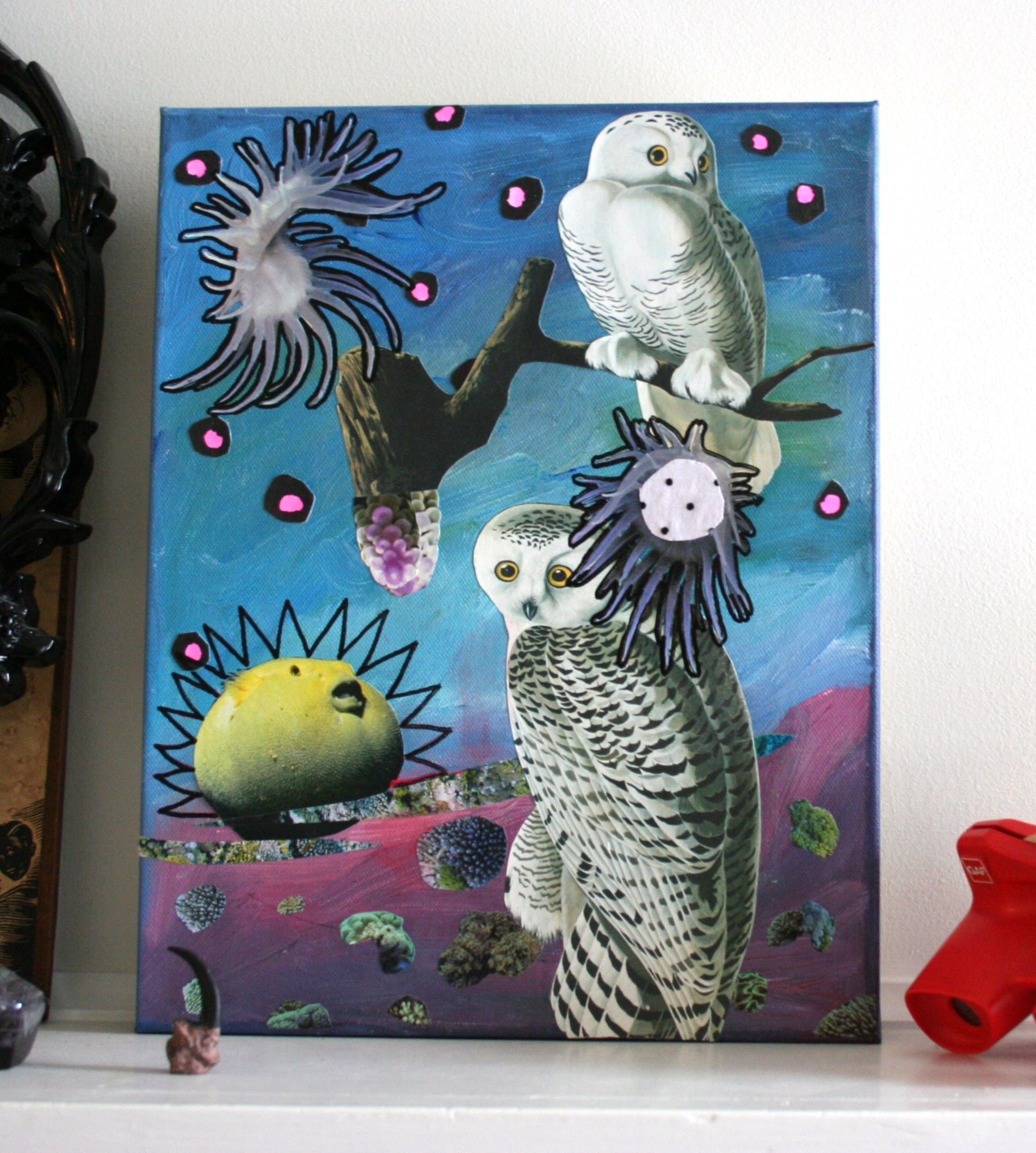 """White Owl"" Original Collage"