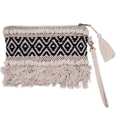 BOHO HAND LOOMED CLUTCH BLACK WHITE