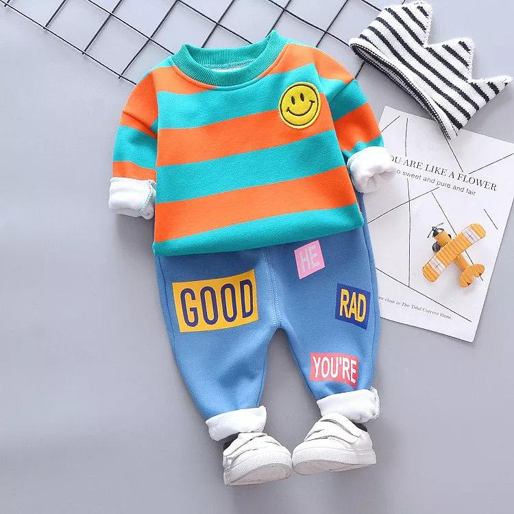 Baby Boy Clothes Sets Cotton Thicken Long Sleeve Cartoon Smile T-shirt+Warm Pants